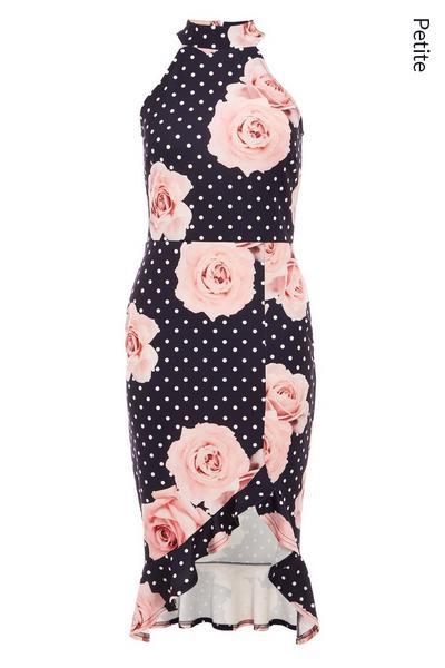Petite Navy Floral Midi Dress